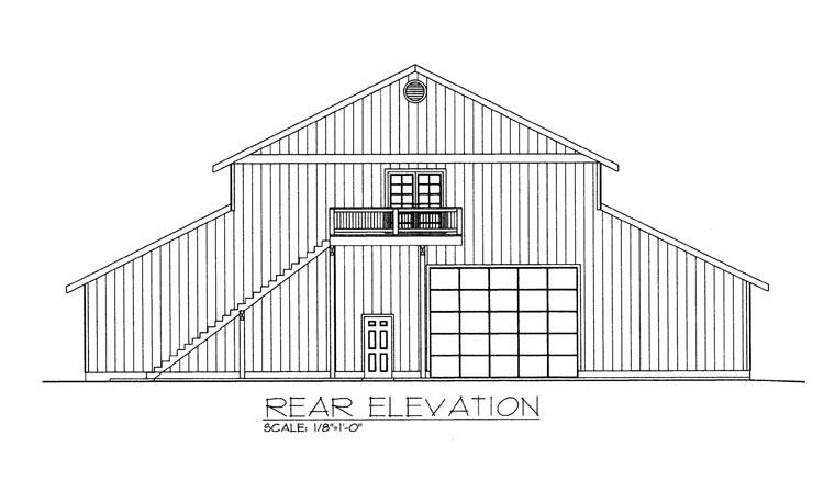 Rear Elevation of Plan 85387
