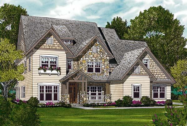 Cottage Craftsman Elevation of Plan 85414