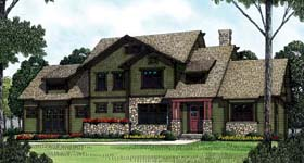 House Plan 85417 | Cottage Craftsman Style Plan with 3161 Sq Ft, 4 Bedrooms, 4 Bathrooms, 2 Car Garage Elevation