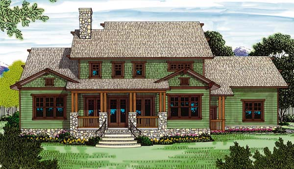 House Plan 85417 | Cottage Craftsman Style Plan with 3161 Sq Ft, 4 Bedrooms, 4 Bathrooms, 2 Car Garage Rear Elevation