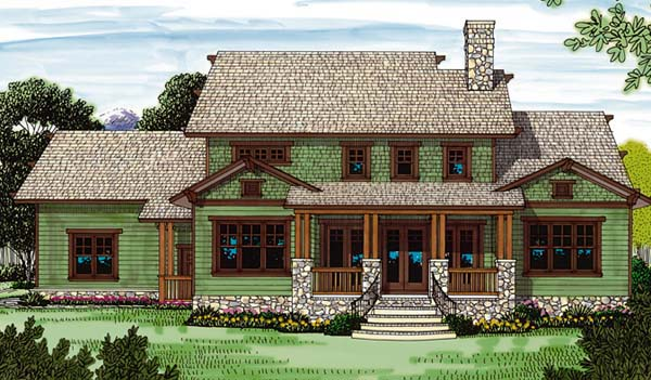 Cottage Craftsman House Plan 85418 Rear Elevation