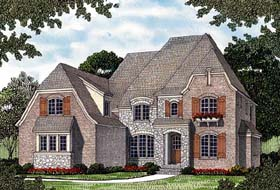 House Plan 85422 | European Style Plan with 3182 Sq Ft, 4 Bedrooms, 4 Bathrooms, 3 Car Garage Elevation