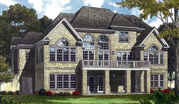 Traditional House Plan 85423 with 5 Beds, 5 Baths, 2 Car Garage Rear Elevation