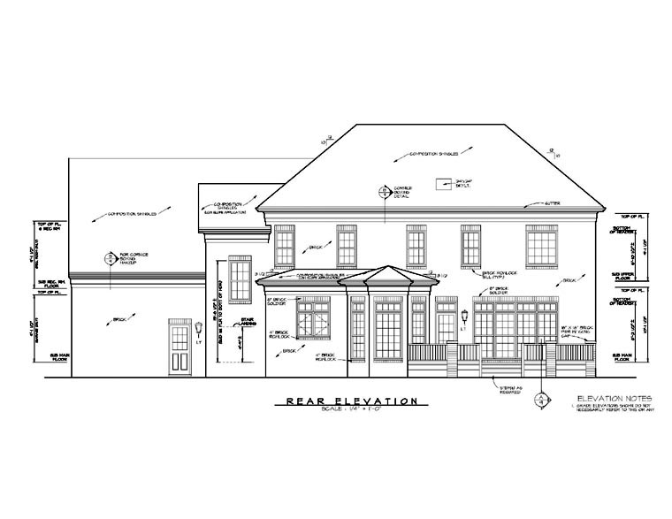 Traditional House Plan 85434 with 4 Beds, 4 Baths, 3 Car Garage Rear Elevation