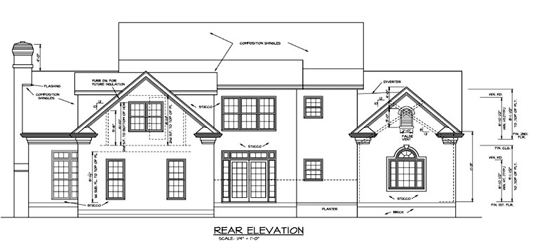 Colonial , Country , Farmhouse House Plan 85454 with 4 Beds, 4 Baths, 2 Car Garage Rear Elevation