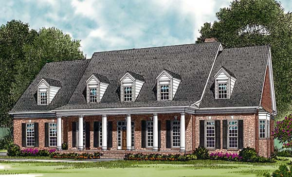House Plan 85458 | Colonial Farmhouse Style Plan with 3371 Sq Ft, 4 Bedrooms, 3 Bathrooms, 2 Car Garage Elevation