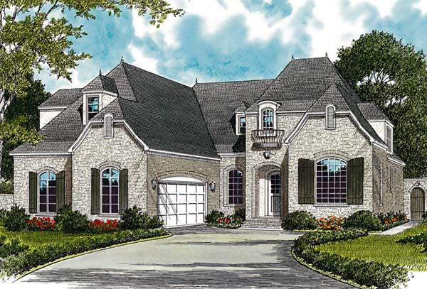 European House Plan 85467 with 5 Beds, 4 Baths, 2 Car Garage Elevation