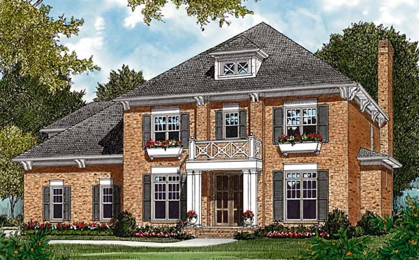 Colonial Traditional Elevation of Plan 85472