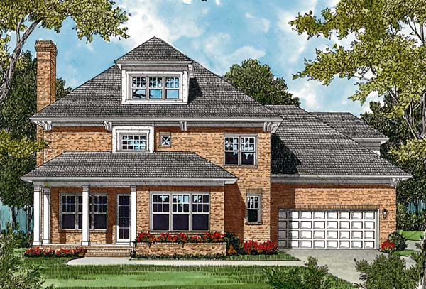 Colonial Traditional Rear Elevation of Plan 85472