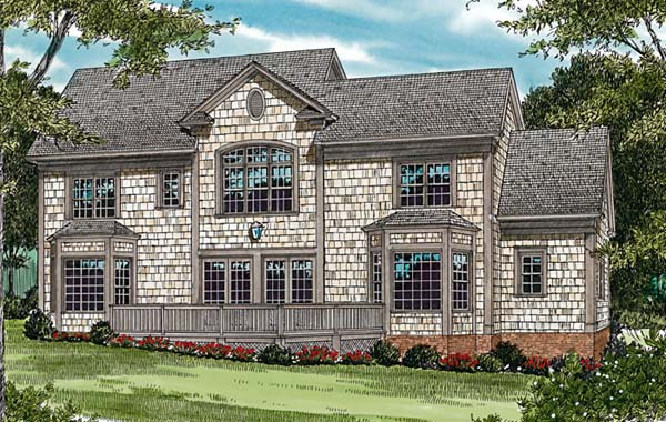 House Plan 85482 | Cottage Craftsman Style Plan with 3557 Sq Ft, 4 Bedrooms, 4 Bathrooms, 2 Car Garage Rear Elevation
