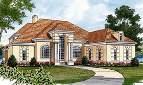 House Plan 85491   Mediterranean Style Plan with 3655 Sq Ft, 4 Bedrooms, 4 Bathrooms, 3 Car Garage Elevation