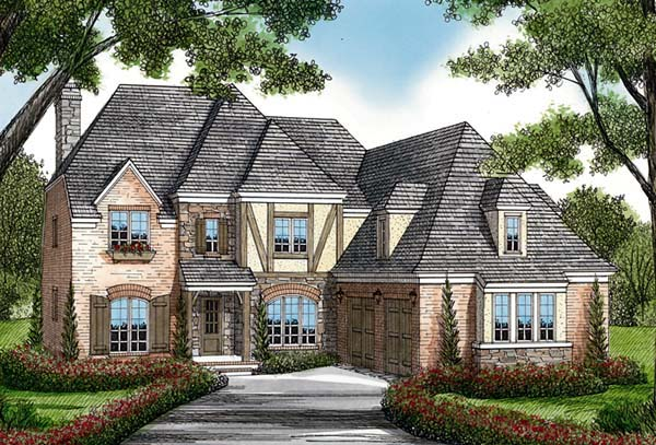 House Plan 85517 | Cottage, European Style House Plan with 3877 Sq Ft, 4 Bed, 5 Bath, 2 Car Garage Elevation