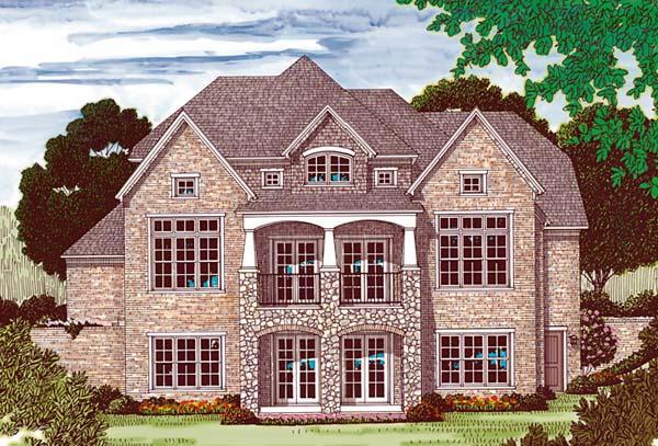 Cottage , Craftsman House Plan 85538 with 5 Beds, 6 Baths, 3 Car Garage Rear Elevation