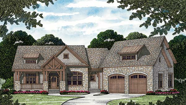 Cottage , Craftsman , Elevation of Plan 85557