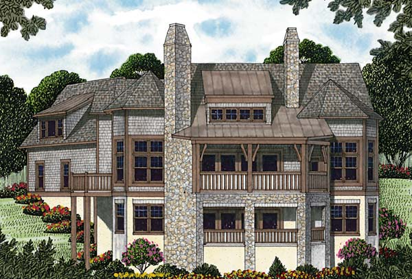 Cottage , Craftsman , Rear Elevation of Plan 85557