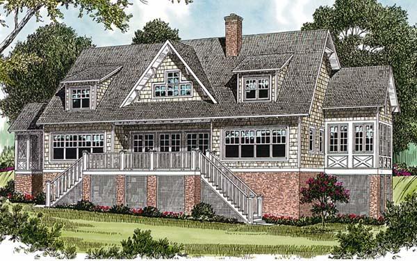 Cottage Craftsman Rear Elevation of Plan 85571