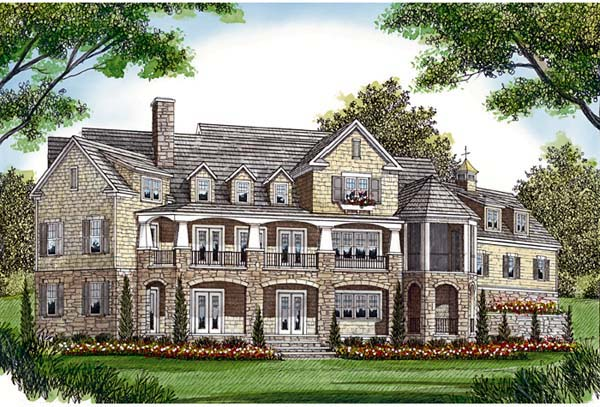 Cottage, Craftsman House Plan 85573 with 5 Beds, 6 Baths, 3 Car Garage Rear Elevation