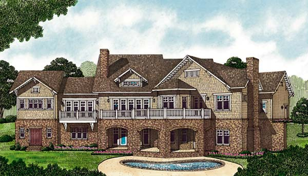 Cottage Craftsman House Plan 85593 Rear Elevation