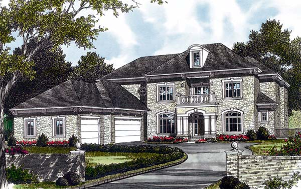 European , Mediterranean House Plan 85594 with 5 Beds, 5 Baths, 3 Car Garage Elevation