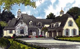 Country , European House Plan 85595 with 4 Beds, 6 Baths, 3 Car Garage Elevation