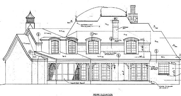 Country , European House Plan 85595 with 4 Beds, 6 Baths, 3 Car Garage Rear Elevation