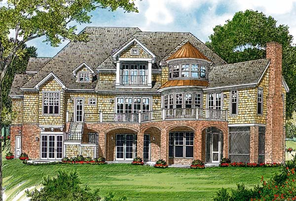 Cottage, Craftsman House Plan 85600 with 5 Beds, 7 Baths, 3 Car Garage Rear Elevation