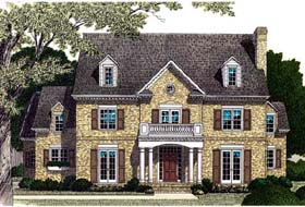 House Plan 85602 | Colonial Traditional Style Plan with 5148 Sq Ft, 5 Bedrooms, 7 Bathrooms, 2 Car Garage Elevation
