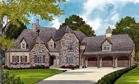 House Plan 85608 | Country European Style Plan with 4971 Sq Ft, 4 Bedrooms, 4 Bathrooms, 3 Car Garage Elevation