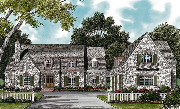 House Plan 85612 | Country European Style Plan with 5043 Sq Ft, 5 Bedrooms, 7 Bathrooms, 3 Car Garage Elevation