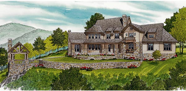 Cottage Craftsman House Plan 85622 Rear Elevation