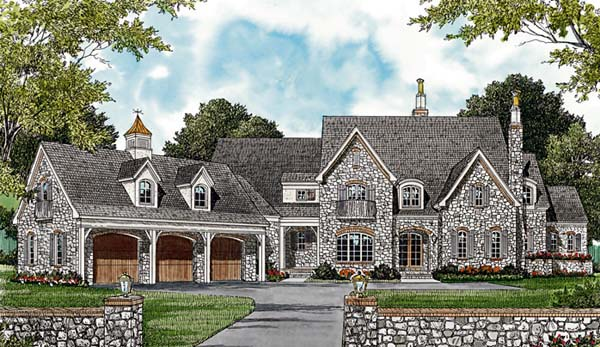 European , Country House Plan 85629 with 4 Beds, 6 Baths, 3 Car Garage Elevation