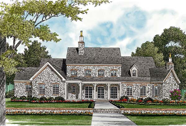 European , Country House Plan 85629 with 4 Beds, 6 Baths, 3 Car Garage Rear Elevation