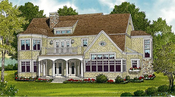 Cottage Craftsman French Country House Plan 85636 Rear Elevation