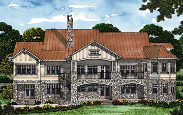 Cottage, Craftsman House Plan 85643 with 6 Beds, 6 Baths, 2 Car Garage Rear Elevation