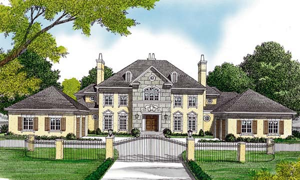 European House Plan 85652 with 5 Beds, 6 Baths, 4 Car Garage Elevation