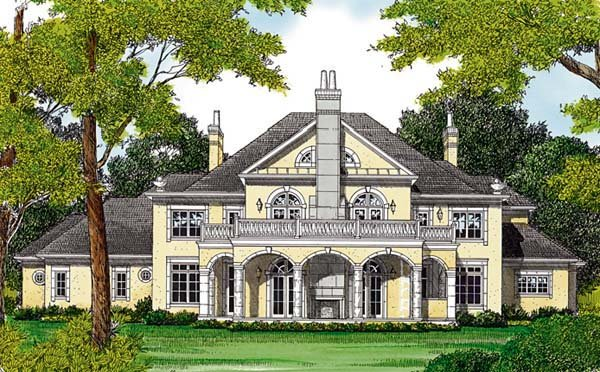 European House Plan 85652 with 5 Beds, 6 Baths, 4 Car Garage Rear Elevation