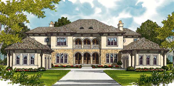 European, Mediterranean House Plan 85658 with 5 Beds, 6 Baths, 4 Car Garage Elevation