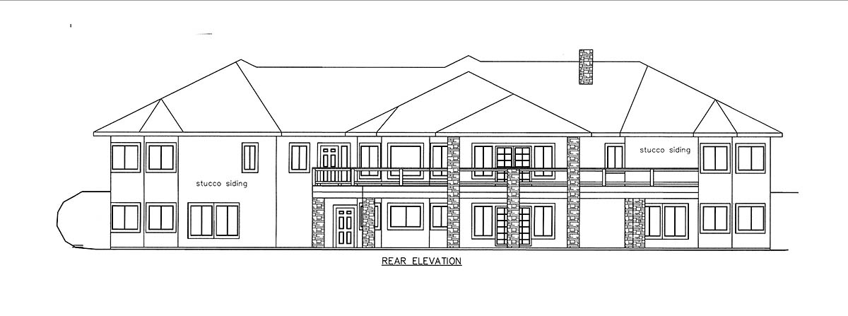 House Plan 85821 with 4 Beds, 7 Baths, 4 Car Garage Rear Elevation