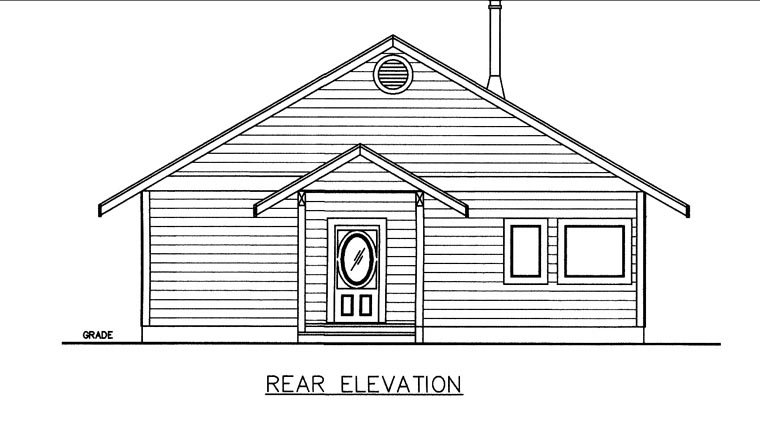 Rear Elevation of Plan 85828