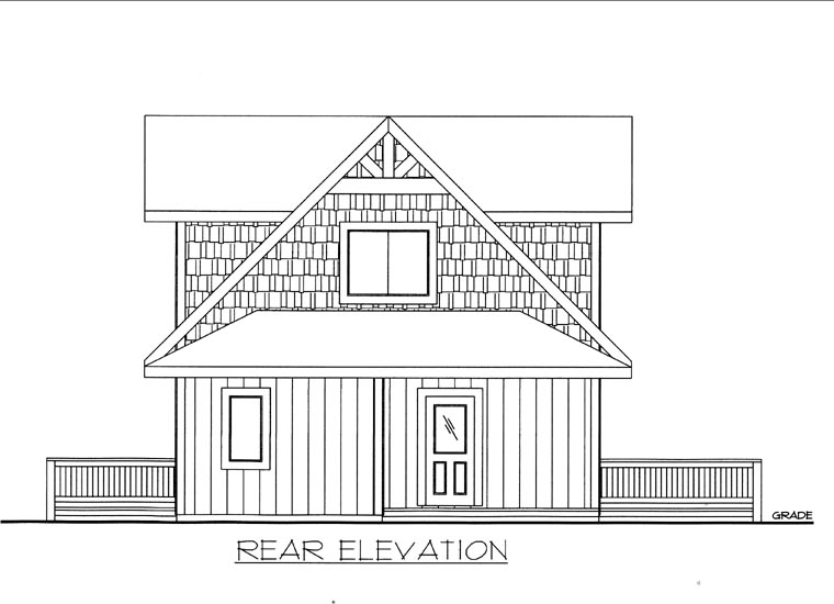 Rear Elevation of Plan 85833