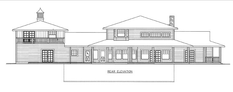 House Plan 85839 with 4 Beds, 3 Baths, 3 Car Garage Rear Elevation