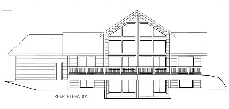 House Plan 85840 | Style Plan with 1565 Sq Ft, 2 Bedrooms, 3 Bathrooms, 2 Car Garage Rear Elevation