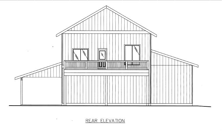 Rear Elevation of Plan 85841