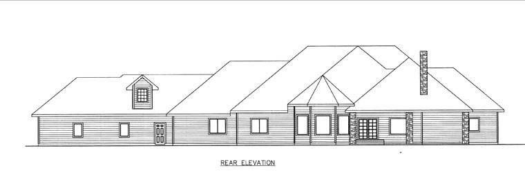 Rear Elevation of Plan 85844