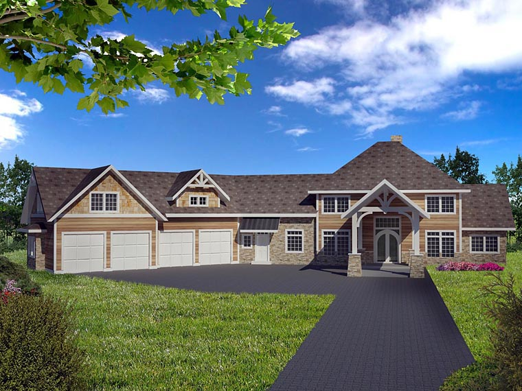 House Plan 85849 with 5 Beds, 4 Baths, 4 Car Garage Front Elevation