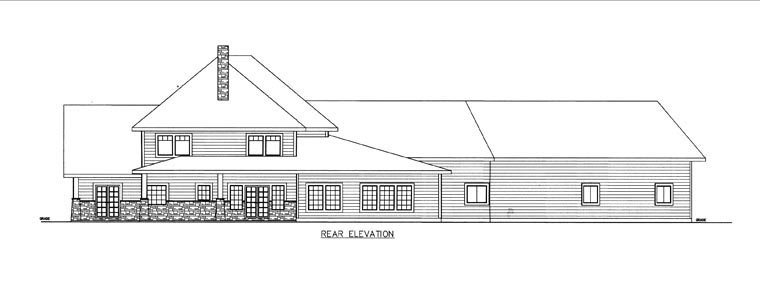 House Plan 85849 with 5 Beds, 4 Baths, 4 Car Garage Rear Elevation