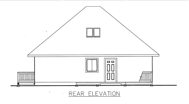 House Plan 85855 with 3 Beds, 1 Baths Rear Elevation