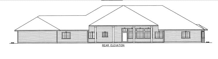 House Plan 85857 with 10 Beds, 7 Baths, 3 Car Garage Rear Elevation