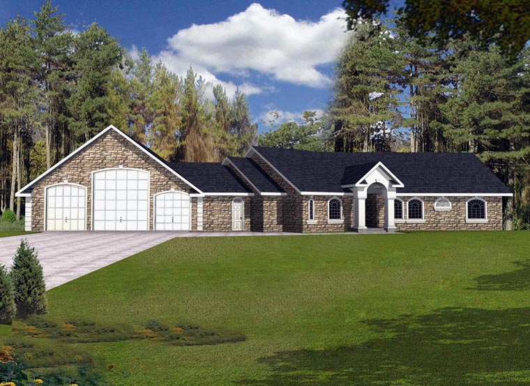 House Plan 85858 with 3 Beds, 4 Baths, 4 Car Garage Elevation