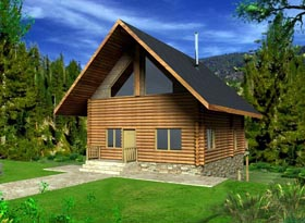 Log House Plan 85869 with 1 Beds, 2 Baths Elevation